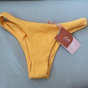 NWT Yellow Ribbed Bikini Bottom PullBear Swim